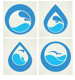 Collection of water stickers Stock Photography