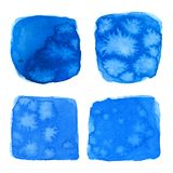 Collection of the watercolor blue brush strokes with stains Stock Photos