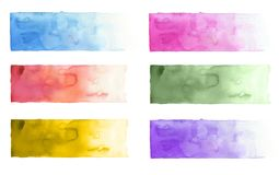 Collection of watercolor brush strokes. Isolated on white. stock image