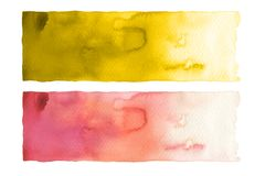 Collection of watercolor brush strokes. Isolated on white. Collection of watercolor line brush strokes. Isolated on white stock photos
