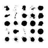 Collection of watercolor brushes blots and spray Stock Photo