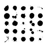 Collection of watercolor brushes blots and spray Stock Images