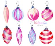 Collection of watercolor Christmas decorations. Hand drawn isolated on a white background stock illustration