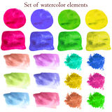 Collection of watercolor design elements on different colors. Royalty Free Stock Photos