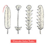 Collection of watercolor hand draw native american war feathers Stock Photography