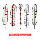 Collection of watercolor hand draw native american war feathers Royalty Free Stock Images