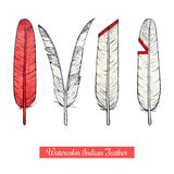 Collection of watercolor hand draw native american war feathers Stock Photos