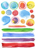 Collection of watercolor hand painted design elements background Stock Image