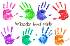 Collection of watercolor hand print Royalty Free Stock Images
