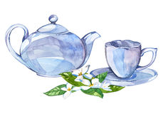 Collection of watercolor illustration on the theme tea. Cup and kettler Royalty Free Stock Photo