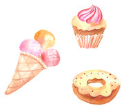 Collection of watercolor illustrations. With cakes stock illustration