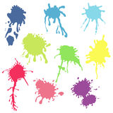 Collection of watercolor paint splash. Vector set of color brush Stock Photos