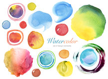 Collection of watercolor painted design elements background Royalty Free Stock Photos