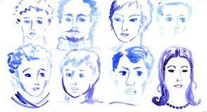 Collection of watercolor portraits. Royalty Free Stock Photo