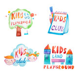 Collection of watercolor promotional symbols with calligraphic letterings of kids club playground.  Royalty Free Stock Photos