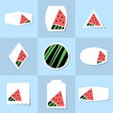 Collection of watermelon postage stamp Stock Images