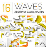 Collection of wave abstract backgrounds Royalty Free Stock Photo