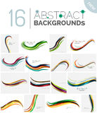 Collection of wave abstract backgrounds Royalty Free Stock Images