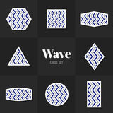 Collection wave line cards Stock Images