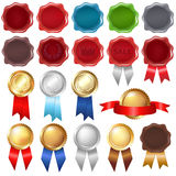 Collection Wax Seal And Award Ribbons. Vector. Collection Wax Seal And Award Ribbons, Isolated On White Background, Vector Illustration stock illustration