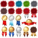 Collection Wax Seal And Award Ribbons. Vector Stock Images