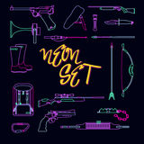 Collection of weapons for hunting in neon style Stock Images