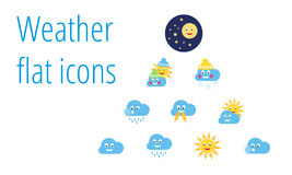 Collection of weather flat icons Stock Photo