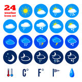 Collection of weather forecast icons Royalty Free Stock Photography