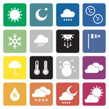 Collection of 16 weather sign icons. Stock Photo