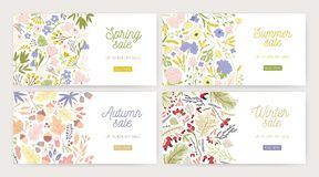 Collection of web banner templates with gorgeous blooming flowers, plants, leaves, berries and place for text on white stock illustration