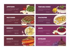 Collection of web banner templates with tasty appetizing Georgian national meals and place for text. Hand drawn. Realistic vector illustration for restaurant or vector illustration