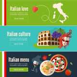 Collection of web banners with Italian food, symbols and architecture. Italy banner set with italian style culture . Flat style. EPS 10 Stock Photography