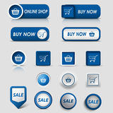 Collection web blue buttons and pointers for shopping Royalty Free Stock Image