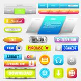 Collection of Web Buttons, Elements Set. Vector Templates, banners and labels, media, ribbons icons for website or app. Navigation menu bars vector illustration