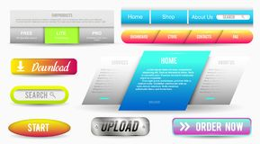 Collection of Web Buttons, Elements Set. Vector Templates, banners and labels, media, ribbons icons for website or app. Navigation menu bars stock illustration