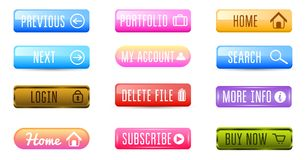 Collection of Web Buttons, Vector Templates, banners and labels, media. Ribbons icons for website or app, navigation. Menu bars. Elements Set royalty free illustration