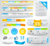Collection of web elements - Various templates. Collection of web elements, menu item, carousel, icons, ribbons, template for headers, footers,bar, side bar and royalty free stock photography