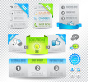 Collection of web elements - Various templates. Collection of web elements, menu item, carousel, icons, ribbons, template for headers, footers,bar, side bar and royalty free stock photo