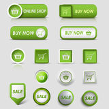 Collection web green buttons and pointers for shopping Royalty Free Stock Images
