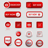 Collection web red buttons and pointers for shopping Stock Photos
