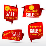 049 Collection of web tag banner for promotion sale discount vec. Red web tag banner with text summer sale for promotion sale and discount vector illustration Royalty Free Stock Image