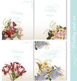 Collection of wedding backgrounds with flowers Royalty Free Stock Images