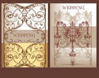 Collection of wedding cards in pastel colors Royalty Free Stock Images