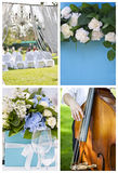 Collection of wedding decoration images. Set of images associated with wedding reception: outdoor ceremony decoration, close-up of wedding table decoration with Royalty Free Stock Images
