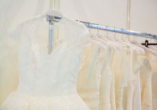 Collection of wedding dresses in the shop Royalty Free Stock Images