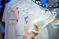Collection of wedding dresses in the shop Royalty Free Stock Photography