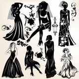 Collection of wedding silhouettes and elements Stock Images