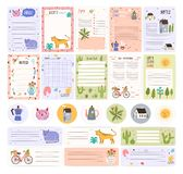 Collection of weekly or daily planner pages or stickers, sheet for notes and to do list templates decorated by cute. Cartoon animals and plants. Modern stock illustration