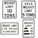 Collection of weight limit signs used in the USA Royalty Free Stock Photo