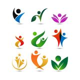 Collection of wellness people logo design template.  Stock Image